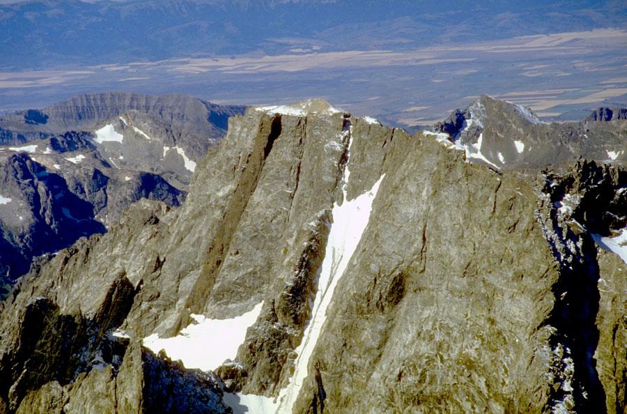 Mount Moran looking southwest with its 30-50 meter wide diabase dike.
