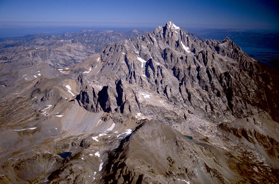 Buck Mountain fault can be seen on the west side of the Tetons.